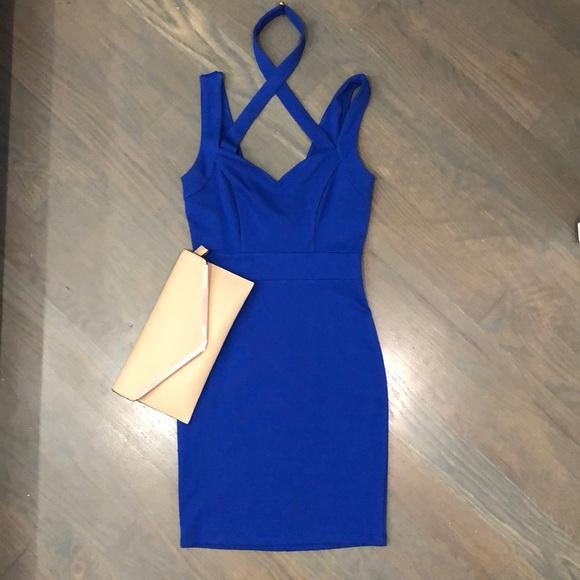 5227fa9e93bd3f AKIRA Dresses | Blue Dress With Crosscross Neckline | Poshmark